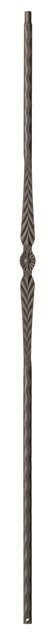 Single Feather with Hammered Edge Flat Black Wrought Iron Baluster (Box of 10)