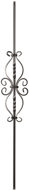 6 3/4″ x 16 1/2″ Double Twist & Dragonfly Flat Black Wrought Iron Baluster (Box of 5)