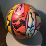 Colorfully decorated wooden ball