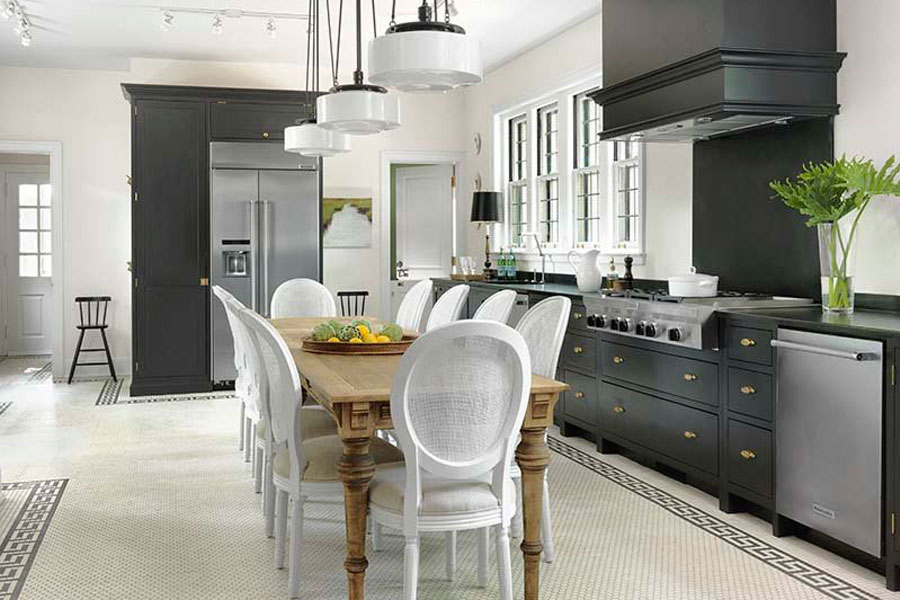 Modern kitchen with traditional table legs