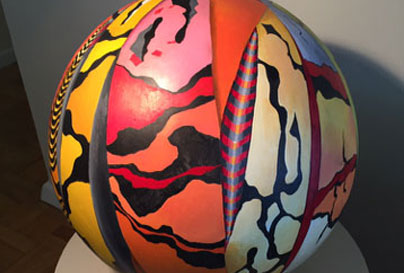 Wooden ball painted abstract art