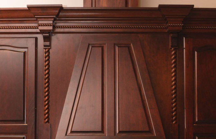 Molding for custom cabinets in kitchen