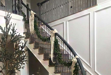 Decorated modern staircase
