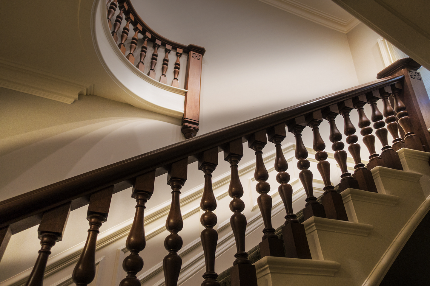 Classical wooden staircase design in mansion