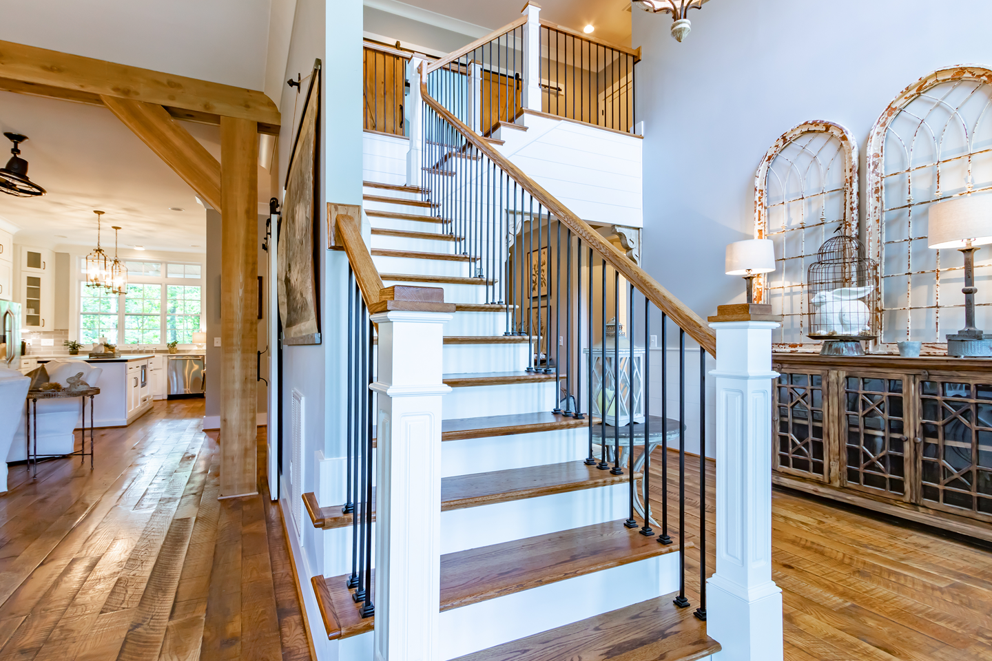 Wooden Staircase Design in Rustic Home