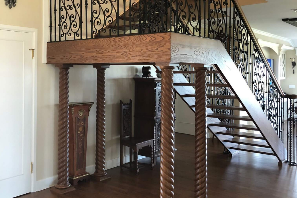 Interior staircase with timber columns