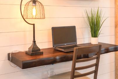 Custom wooden floating desk shelf