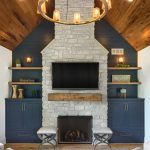 Wooden floating shelves in a rustic living room