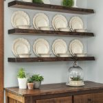 Decorative floating shelves in a dining room