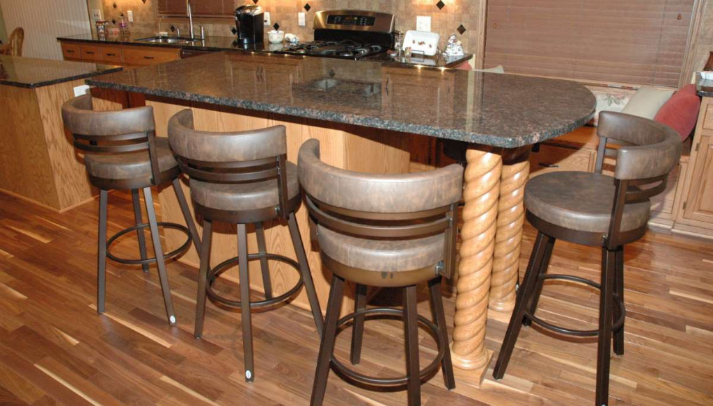 Short wood column sized to use as kitchen island