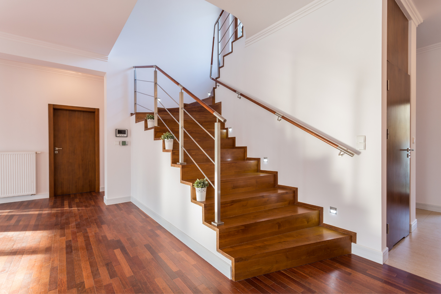 Modern staircase with wood and metal
