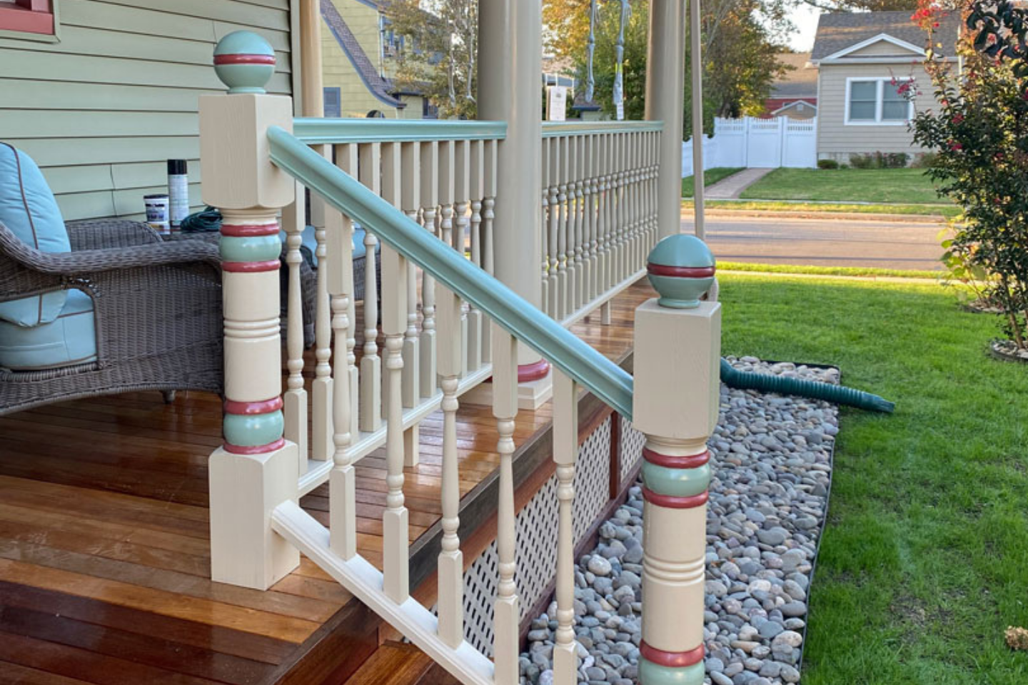 Colorful porch posts with railing