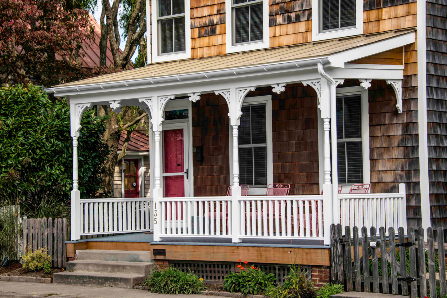 Front porch columns on historic home