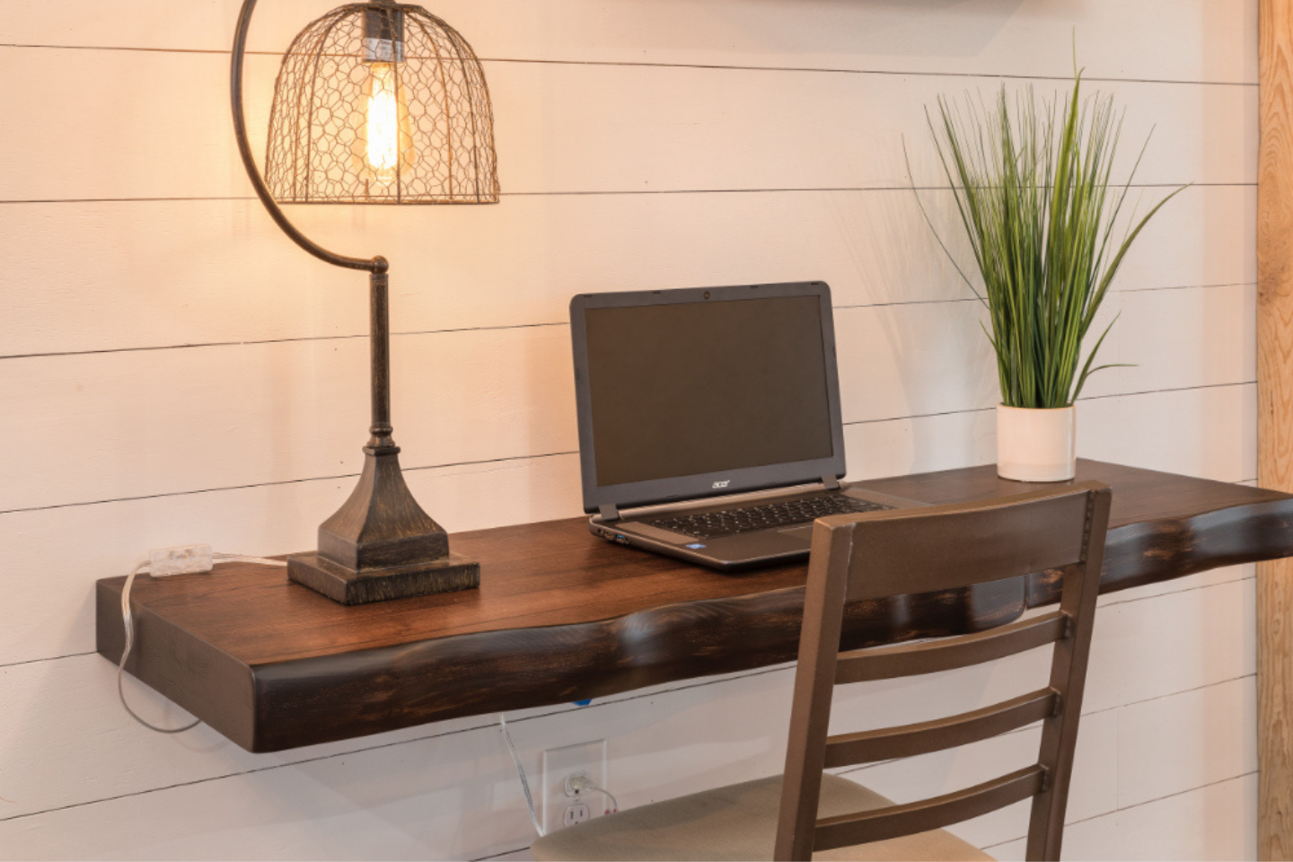 DIY wooden shelf desk for working from home